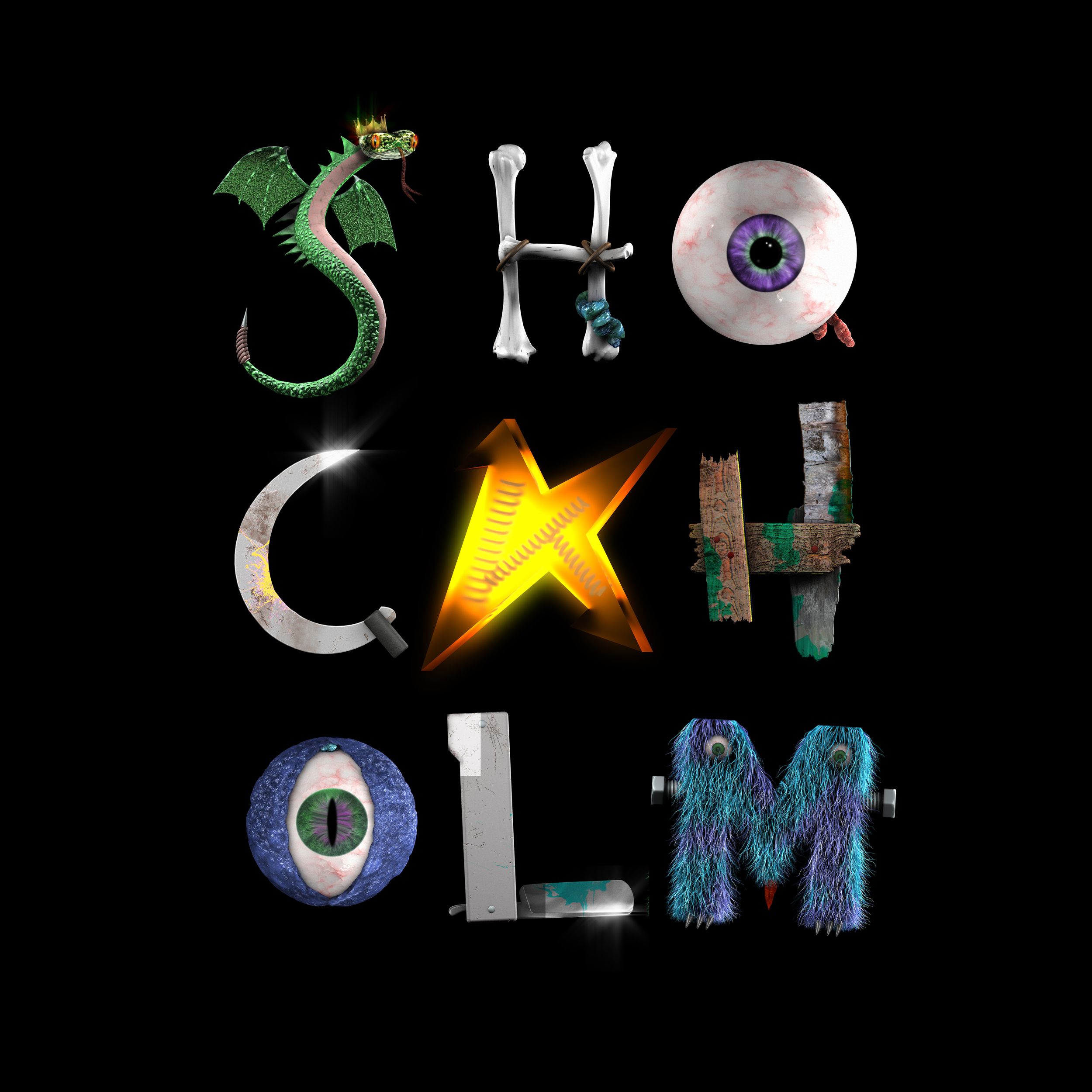 Shockholm logo Square Black Background
